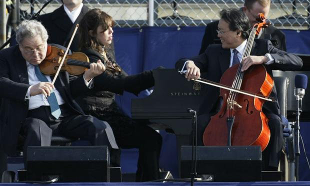 Cellist Yo Yo Ma (R), violinist Itzhak Perlman (L), and Pianist Gabriela Montero perform John Williams's  'Air and Simple Gifts' during the inauguration of Barack Obama in 2009