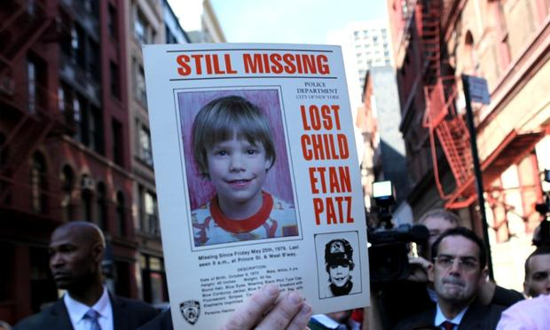 NYPD spokesman Paul Browne holding the original missing persons sign for Etan Patz, who went missing in 1979. FBI and NYPD excavated a building on Prince Street.