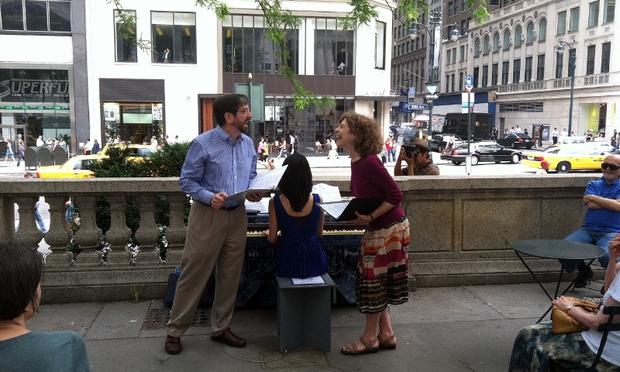 Jeff Spurgeon and Naomi Lewin perform with Jing Li, as part of the Pop-Up Pianos project