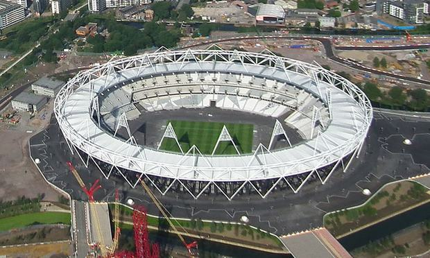 Aerial photo of the Olympic Park main stadium in London