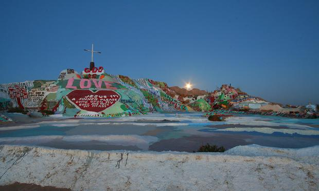 Salvation Mountain, with the moon rising, in 2008.