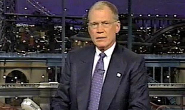 David Letterman giving his opening monologue on the Late Show, September 17, 2001.