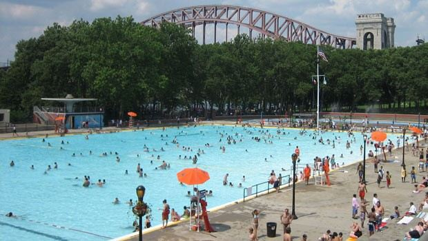 Large crowds flock to accomodatingly large Astoria Pool and its surrounding park in the summer months.