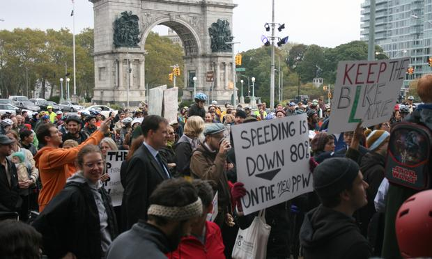 Cyclists and supporters gathered at Grand Army Plaza in Brooklyn to show support for a two-way bike lane created on Prospect Park West.