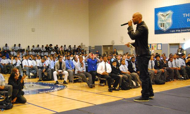 Chicago rapper Common Sense performs for and speaks to students at the Eagle Academy for Young Men in the South Bronx.