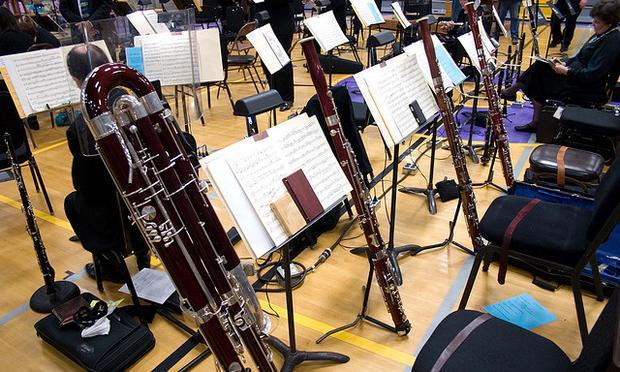 One contrabassoon and three regular bassoons await their operators