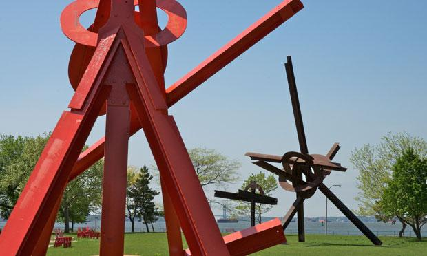 Mark di Suvero's work on view on Governors Island: 'Figolu,' 'Will' and 'Mahatma.'