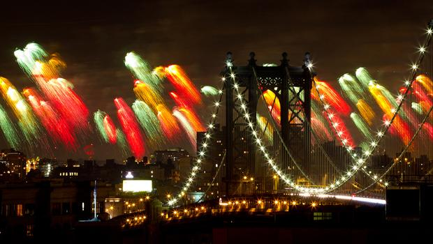A view of the bridge:  Macy's 4th of July fireworks light up the Manhattan Bridge.