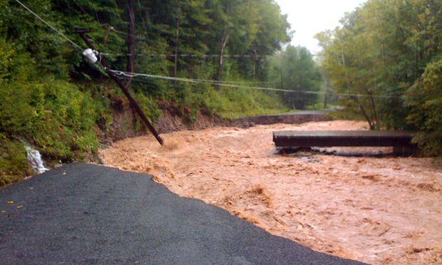 Flooded road in the Catskills on Burnham Hollow Road after Hurricane Irene.