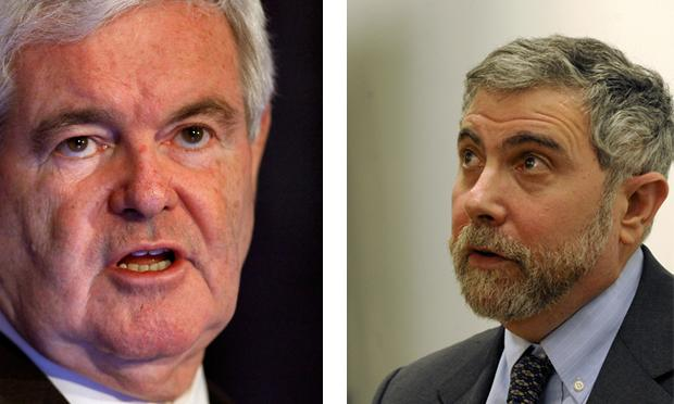 Newt Gingrich and Paul Krugman