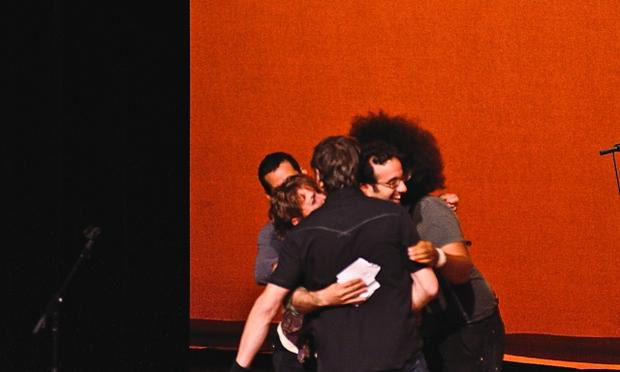 Group hug: Jad Abumrad, Buke & Gass, Glenn Kotche, and Reggie Watts
