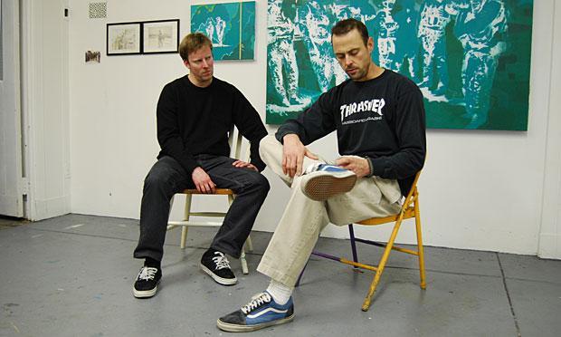 Brooklyn artist David Pierce (L) and his high school buddy Justin Wilkens (R). Wilkens served two deployments in Iraq.