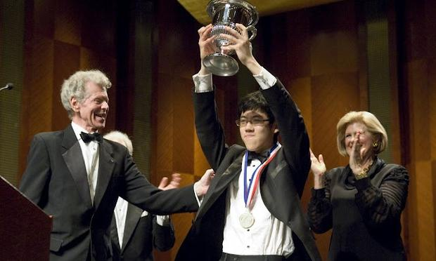 Van Cliburn with Haochen Zhang, the gold medalist at the 2009 Van Cliburn Competition