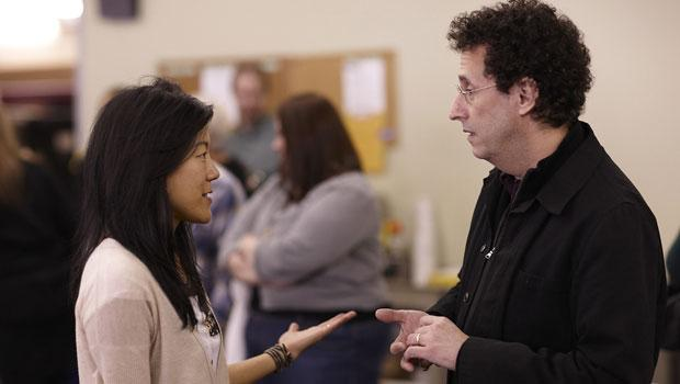 Kushner talks to actress Hettienne Park during rehearsals of <I>The Intelligent Homosexual's Guide to Capitalism and Socialism with a Key to the Scriptures.</I> The play opens March 22.