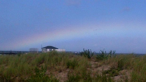 Post-Irene: A rainbow across the fishing pier that survived the storm in Ocean Grove, N.J.