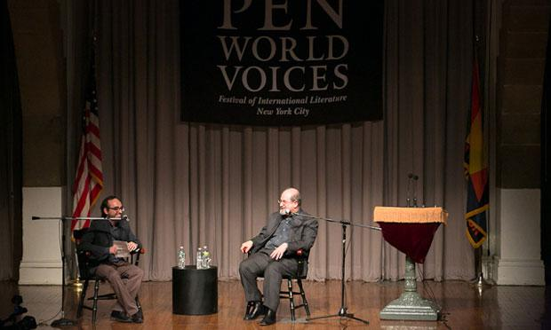 Gary Shteyngart talks with Salman Rushdie during the final PEN World Voices talk in 2012.