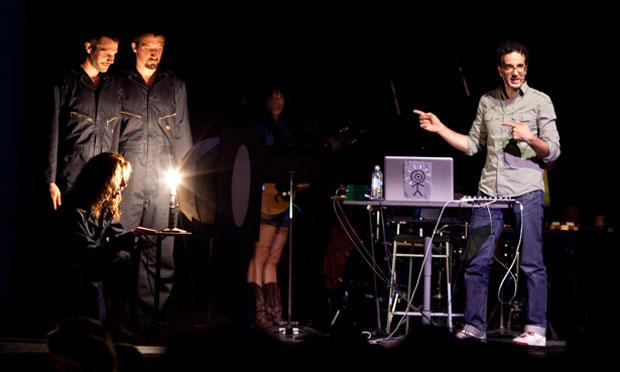 Jad on stage with Pilobolus and Thao Nguyen in Berkeley for Radiolab Live: In the Dark
