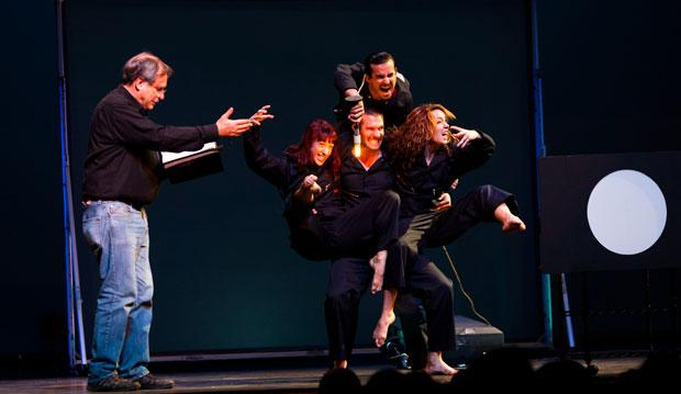 Robert Krulwich on stage with Pilobolus in Berkeley for Radiolab Live: In the Dark