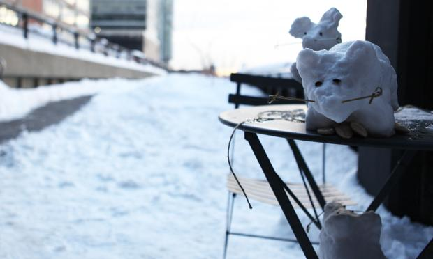 Finished snow rats perched on the High Line. They won second place.