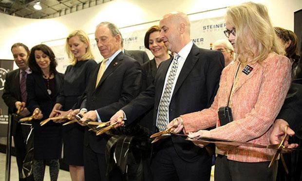 Mayor Bloomberg and others cut the 'ribbon' at the new soundstages.