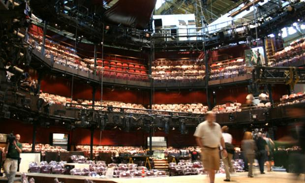 The 'thrust' stage brings the action out into the audience at the Royal Shakespeare Company's six-week engagement at the Park Avenue Armory.