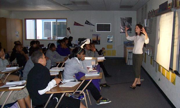 A ninth grade English teacher at Sacramento High School goes over techniques for answering standardized test questions in this photo from last May.