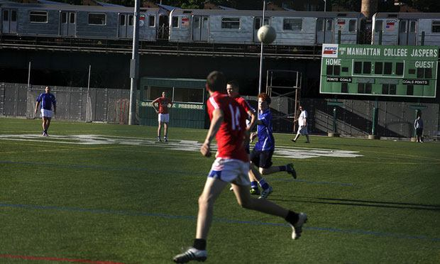 Gaelic Park is owned by Manhattan College, which overlooks the field to the north. The GAA leases the park from the college.