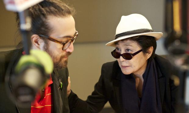DO NOT USE THIS PHOTO EXCEPT FOR SPINNING ON AIR  Sean Lennon and Yoko Ono discuss what songs to play on WNYC's Spinning on Air with David Garland.