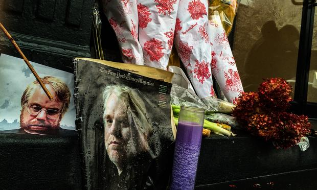 Memorial outside of Philip Seymour Hoffman's apartment in the West Village.