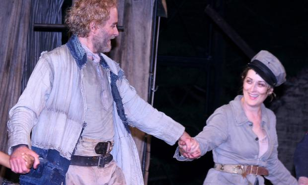 Meryl Streep (R) with Kevin Kline (L) at curtain call for 'Mother Courage and Her Children' Shakespeare in the Park