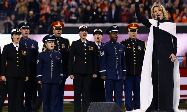 Renee Fleming sings the national anthem at the Super Bowl on Sunday