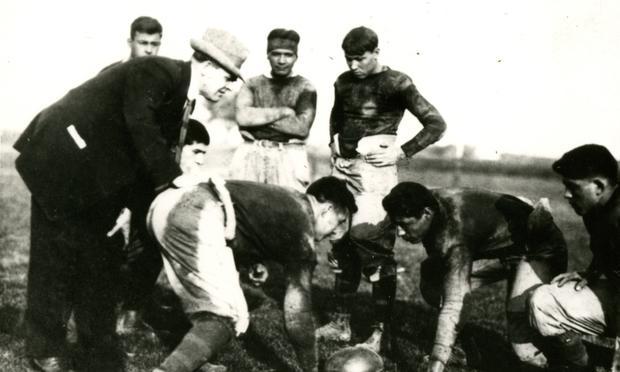 Pop Warner coaching at Carlisle Indian School, circa 1899-1903
