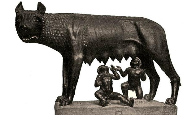 Statue of Romulus and Remus being suckled by a wolf