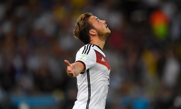 Germany's forward Mario Goetze celebrates after scoring during extra time of the 2014 FIFA World Cup final against Argentina at the Maracana Stadium in Rio de Janeiro on July 13, 2014.