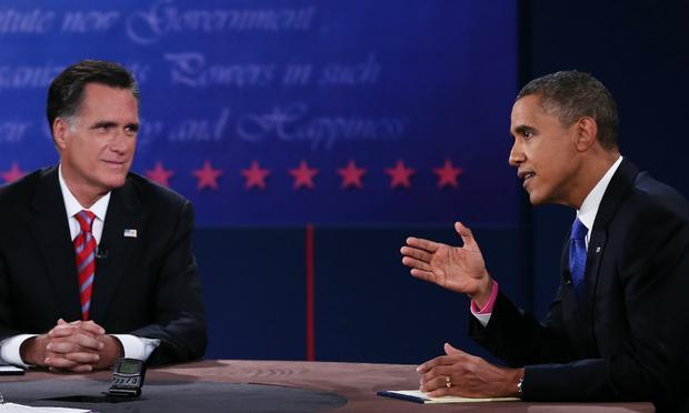 U.S. President Barack Obama (R) debates with Republican presidential candidate Mitt Romney at Lynn University on October 22, 2012 in Boca Raton, Florida.