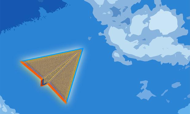 Illustration of a paper airplane flying through the sky