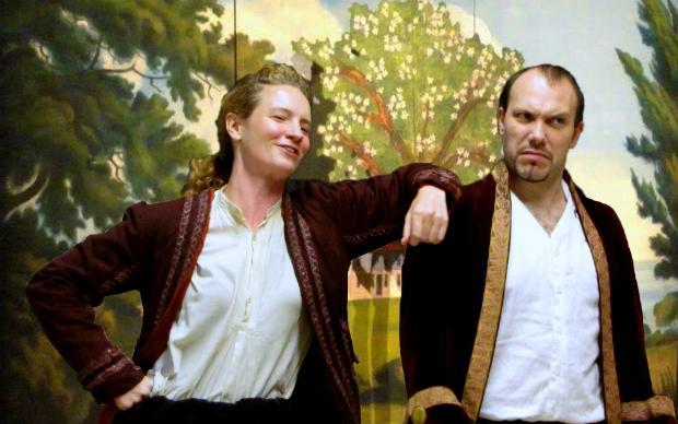 Abigail Fisher as Cherubino in disguise with Daniel Quintana (Figaro) in 'I due Figaro'