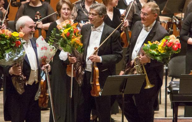 Concertmaster Glenn Dicterow, violinist Marc Ginsberg and trumpeter Philip Smith are honored at Avery Fisher Hall