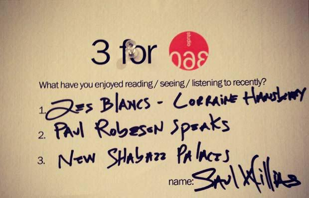 Saul Williams' 3 for 360
