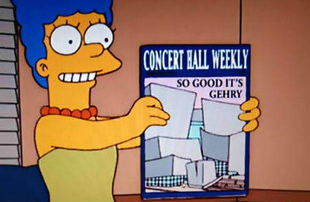 Marge Simpson with a design for the Frank Gehry concert hall