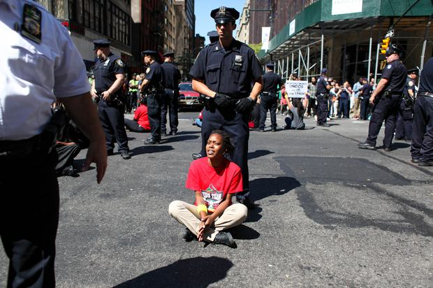 Protestors arrested in midtown, during a day of civil disobedience calling for an increase in minimum wage and unionizing for fast food workers workers.