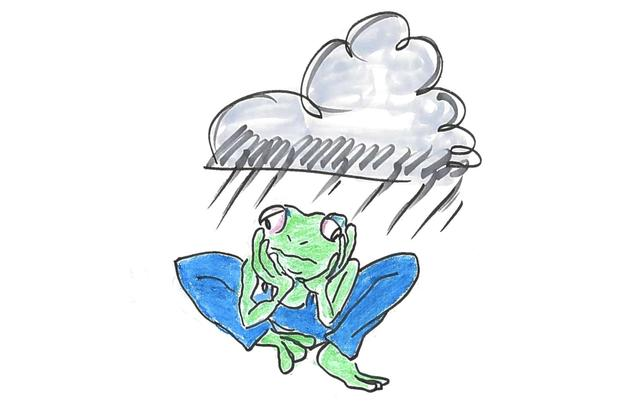 A sad frog in tight pants.