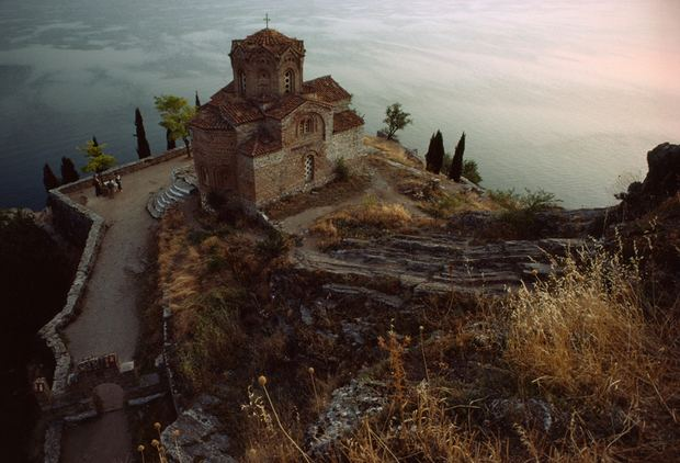 The small monastic church of St. John at Kaneo sits perched atop a rocky precipice overlooking Lake Ohrid in Macedonia, Yugoslavia, April 1982. (Photograph by James L. Stanfield, National Geographic)
