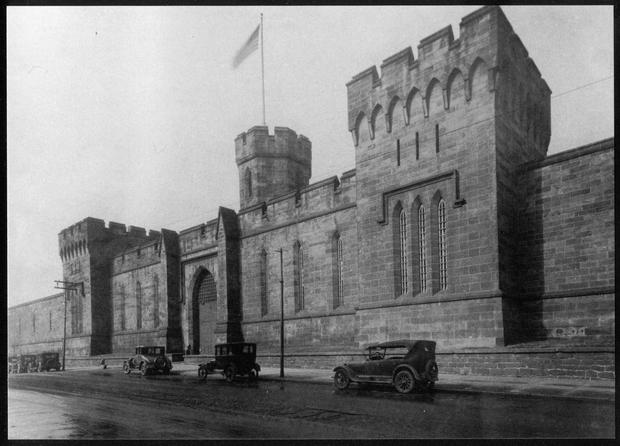 The imposing facade of Eastern State Penitentiary in the 1920s