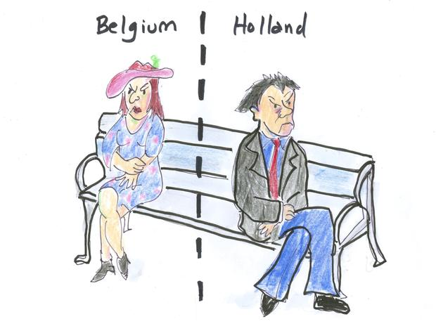 A feuding couple--one in Belgium and the other in Holland.