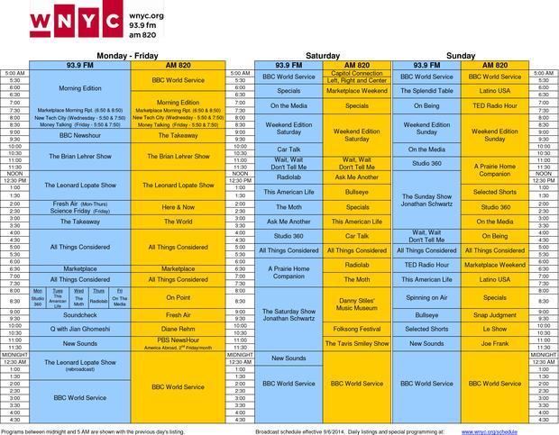 New WNYC Schedule - 9/6/14