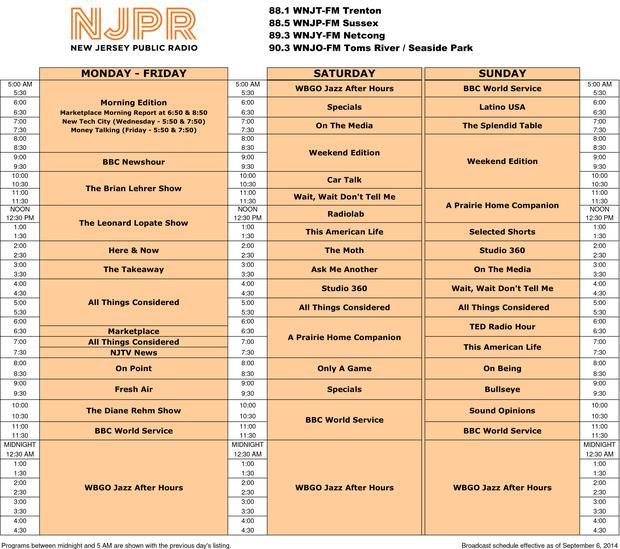 New NJPR Schedule - 9/6/14