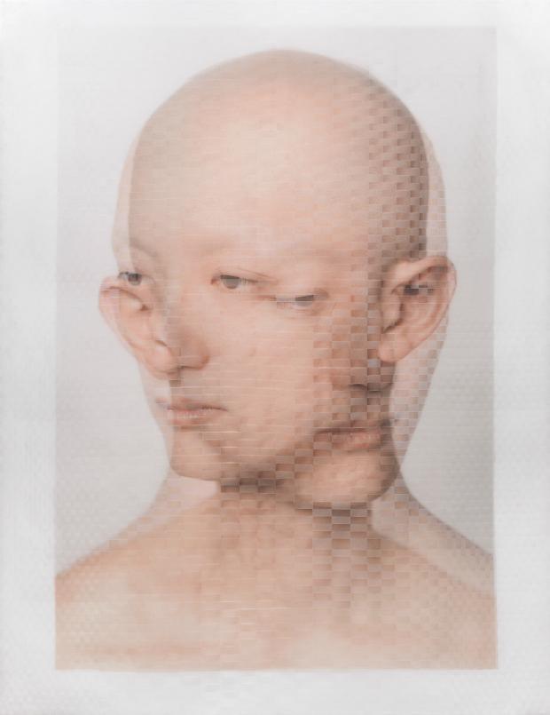 'Kosuke Kawahara, Artist (I)' Archival inkjet prints on vellum, physically woven together. 40' x 30' 2014