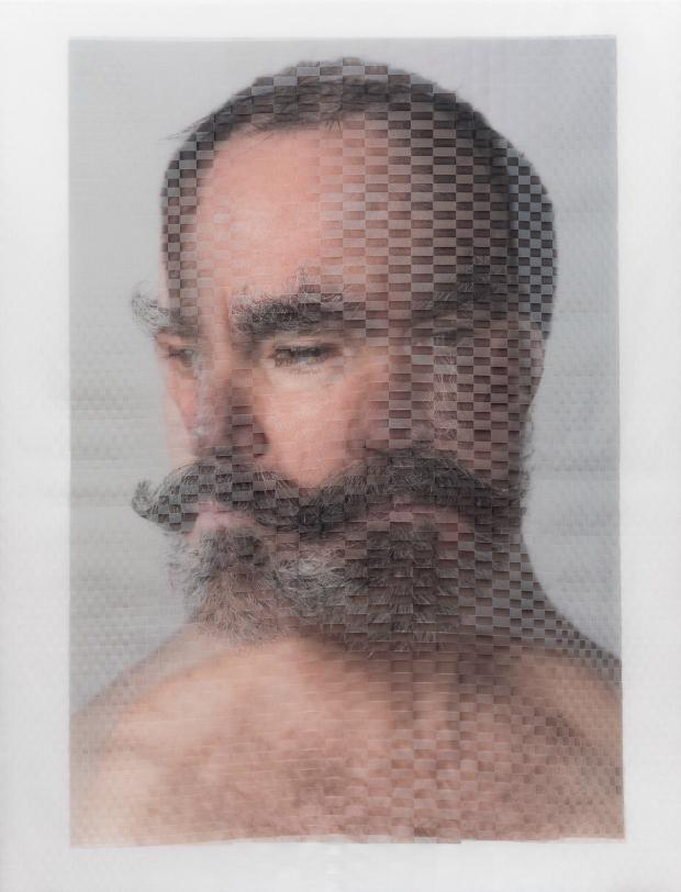 'Sen Curran, Choreographer (II)' Archival inkjet prints on vellum, physically woven together. 40' x 30' 2014