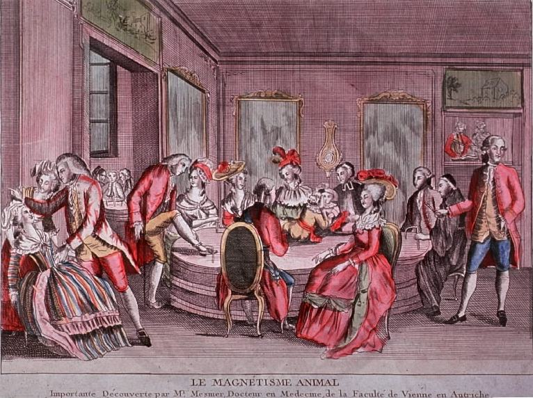 an etching with several well-to-do people in a room, wearing red, engaging in some strange behavior like hypnotism. they are all gathered around a central table and text at the bottom of the image say